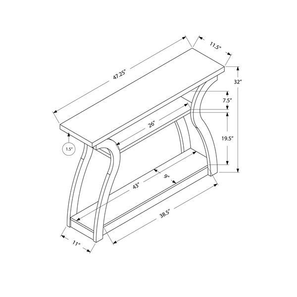 Monarch Accent Table - White Hall Console - 47-inL