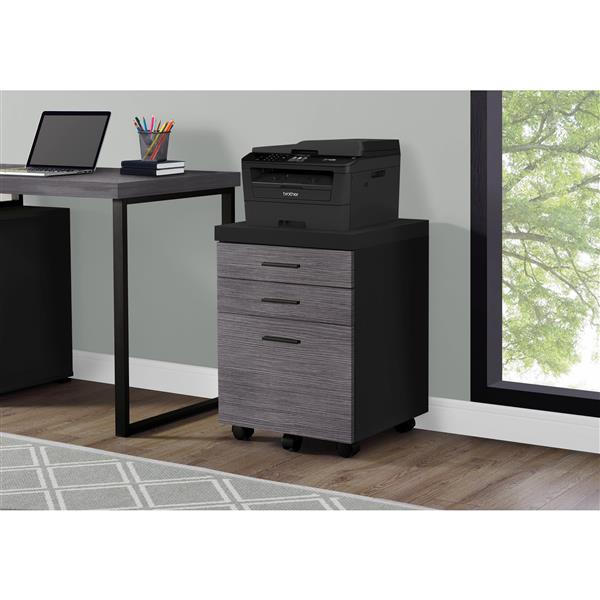 Monarch Filing Cabinet with 3 Drawer on Wheels - Black and Grey