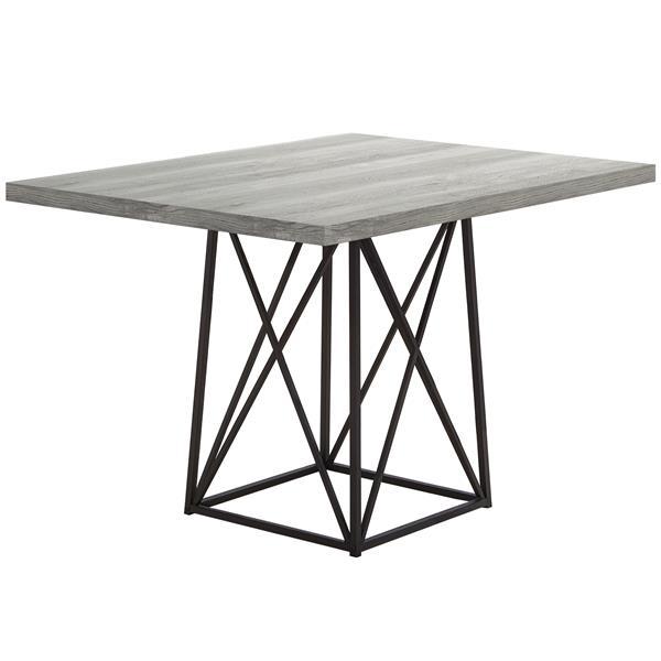 """Table salle à manger, faux bois gris et métal noir, 36""""X 48"""""""