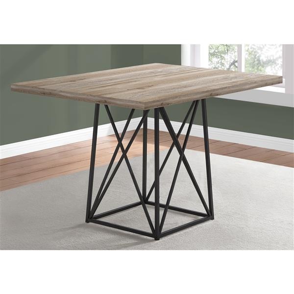 Monarch Dining Table - Taupe Reclaimed Wood Look/Black -  36-in x 48-in