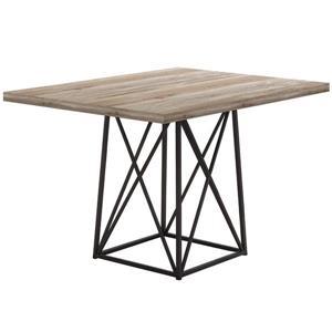 """Table salle à manger, faux bois taupe et métal noir, 36""""X48"""""""