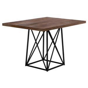 """Table salle à manger, faux bois brun et métal noir, 36""""X 48"""""""