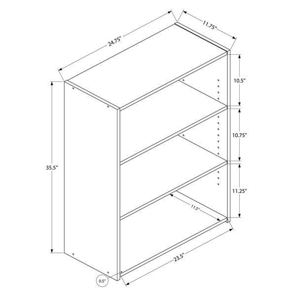 Monarch Bookcase with 3 Shelves - Cherry - 36-in H