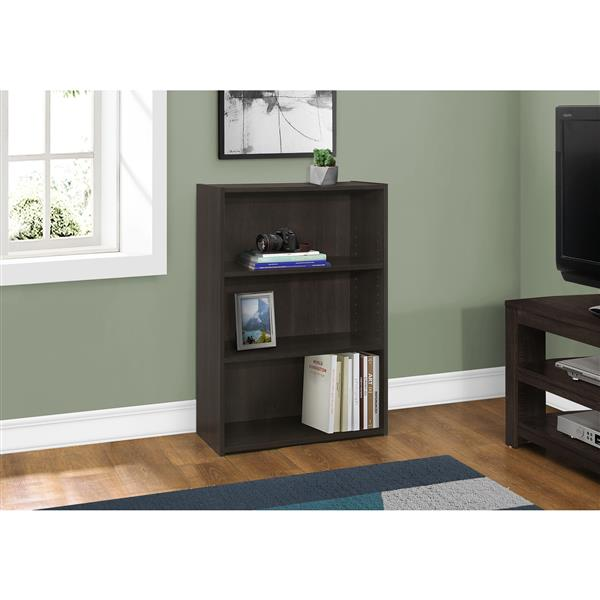 Monarch Bookcase with 3 Shelves - Cappuccino - 36-in H