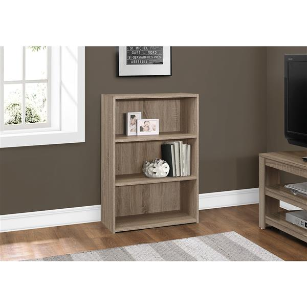 Monarch Bookcase with 3 Shelves - Dark Taupe - 36-in H