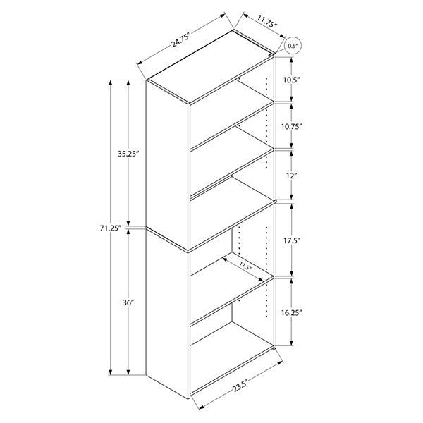 """Bibliothèque/étagère avec 5 tablettes, taupe foncée, 72""""h"""
