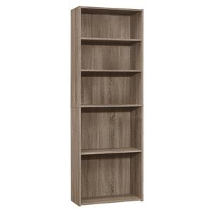 Monarch Bookcase with 5 Shelves - Dark Taupe -  72-in H