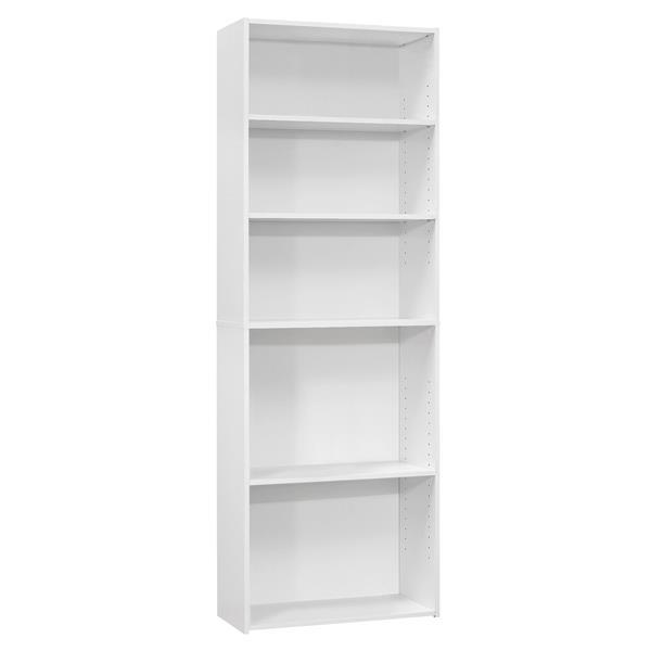 """Bibliothèque/étagère avec 5 tablettes, blanc, 72""""h"""