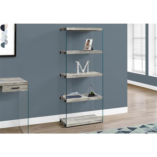Monarch Bookcase - Grey Reclaimed Wood and Glass Panels - 60-in H