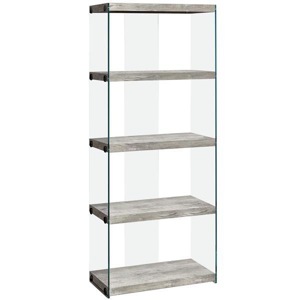 """Bibliothèque/Étagère, faux bois gris et verre trempé, 60""""h"""
