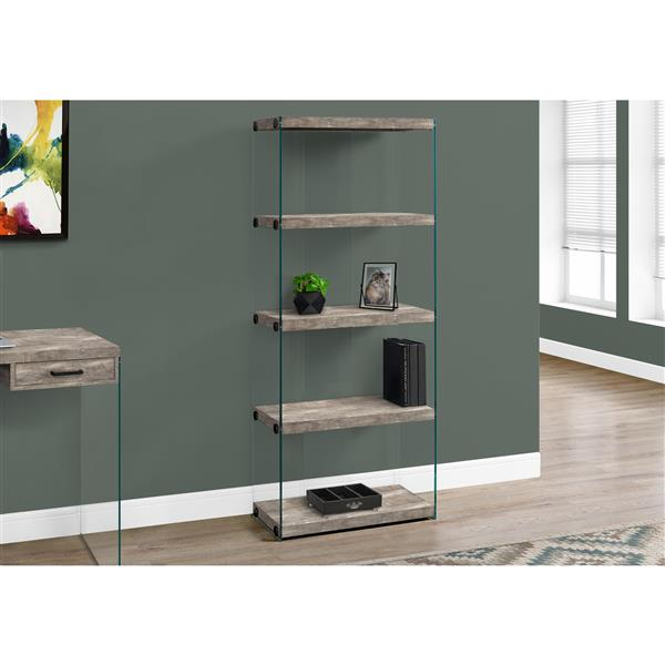Monarch Bookcase - Taupe Reclaimed Wood and Glass Panels - 60-in H