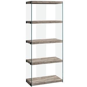"""Bibliothèque/Étagère, faux bois taupe et verre trempé, 60""""h"""