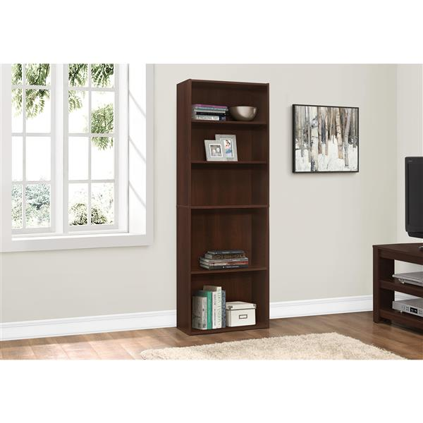 Monarch Bookcase with 5 Shelves - Cherry -  72-in H