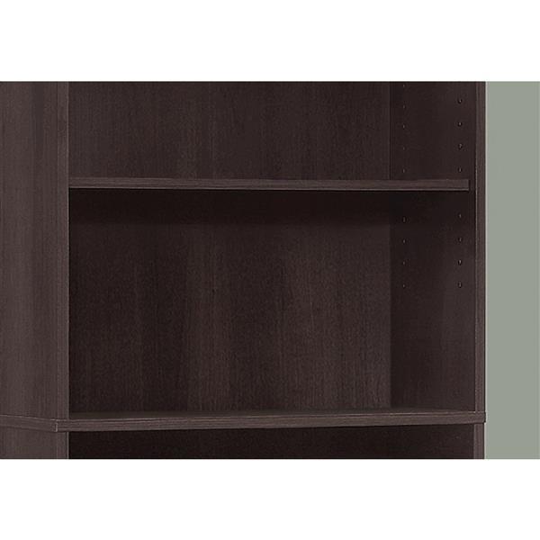 """Bibliothèque/étagère avec 5 tablettes, cappuccino, 72""""h"""