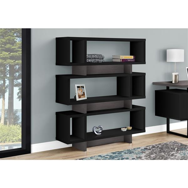 Monarch Bookcase Modern Style - Black and Grey - 55-in H