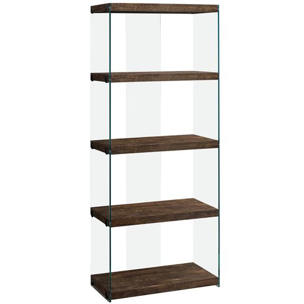 Monarch Bookcase - Brown Reclaimed Wood and Glass Panels - 60-in H