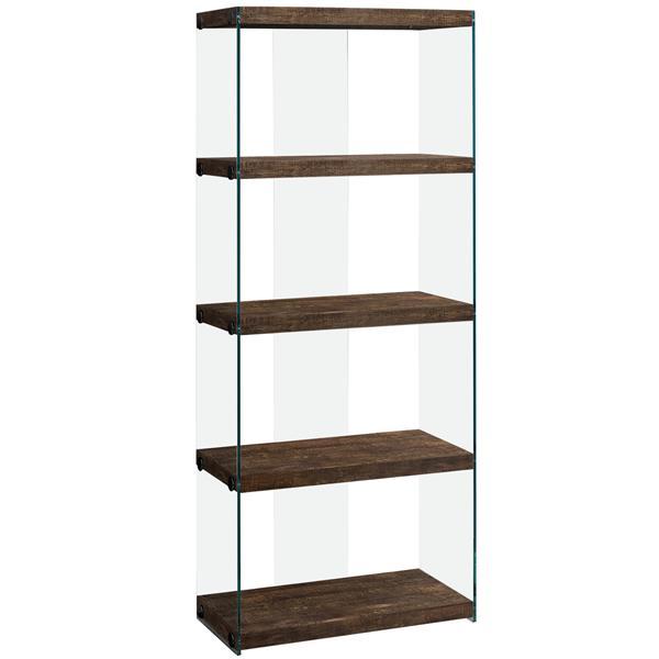 """Bibliothèque/Étagère, faux bois brun et verre trempé, 60""""h"""