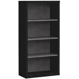Monarch Bookcase with Adjustable Shelves - Black and Grey - 48-in H
