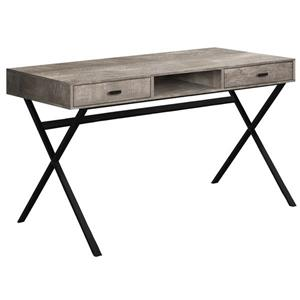 Monarch Computer Desk with drawers- Taupe  / Black metal - 48-in L