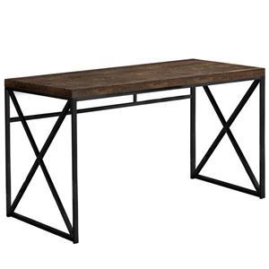 """Bureau de travail en faux bois brun et base noire,  48""""l"""