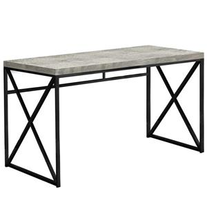 """Bureau de travail en faux bois gris et base noire,  48""""l"""