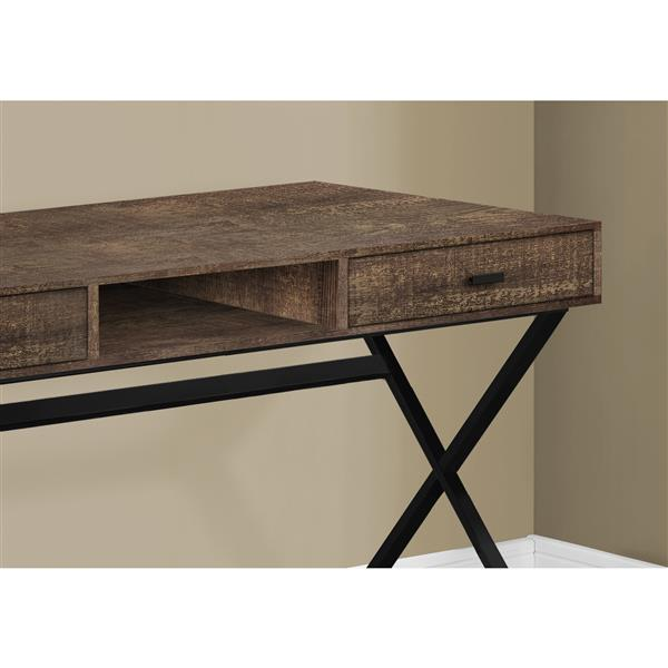 Monarch Computer Desk with drawers- Brown  / Black metal - 48-in L