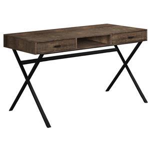 """Bureau de travail avec tiroirs, brun et métal noir, 48""""l"""