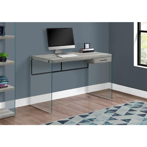 Monarch Computer Desk Glass Panels -  Grey Reclaimed Wood - 48-in