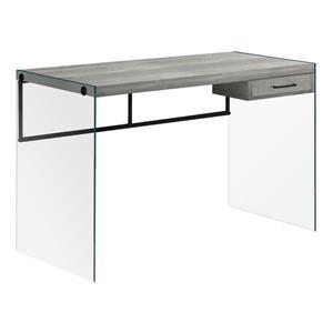 """Bureau de travail avec panneaux de verres, gris, 48""""l"""