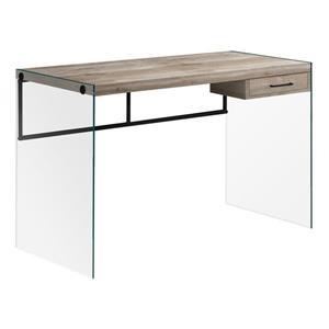 """Bureau de travail avec panneaux de verres, taupe, 48""""l"""