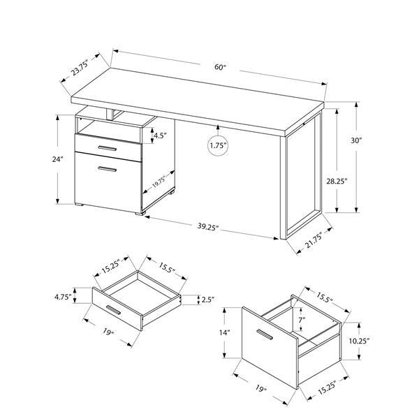 """Bureau de travail avec 2 tiroirs, noir / dessus gris, 60""""l"""