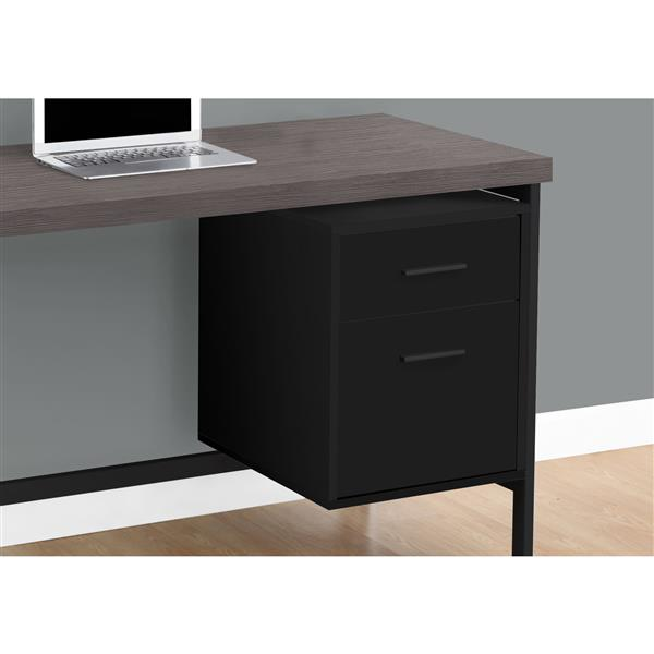 Monarch Computer Desk- Black / Grey Top / Black Metal - 48-in L
