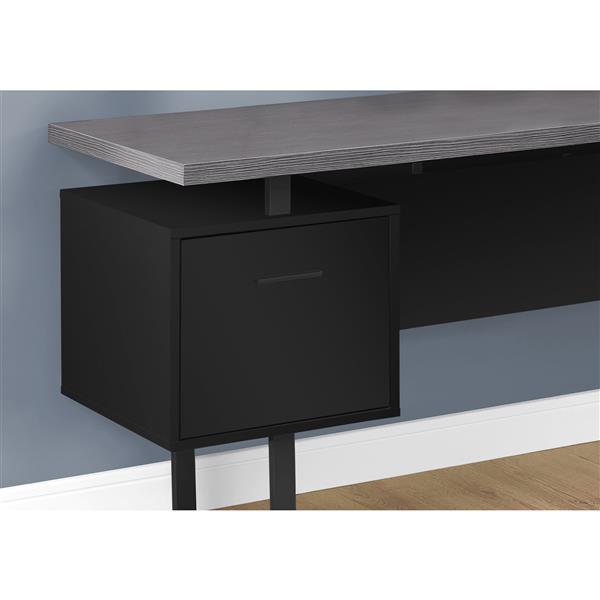 Monarch Computer Desk - Black / Grey Top -  Left/Right Facing - 70-in