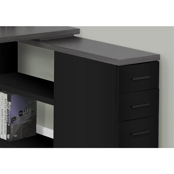 Bureau de travail noir avec dessus gris en forme de L