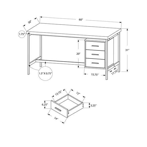 Monarch Computer Desk - Black with grey Top - 60-in