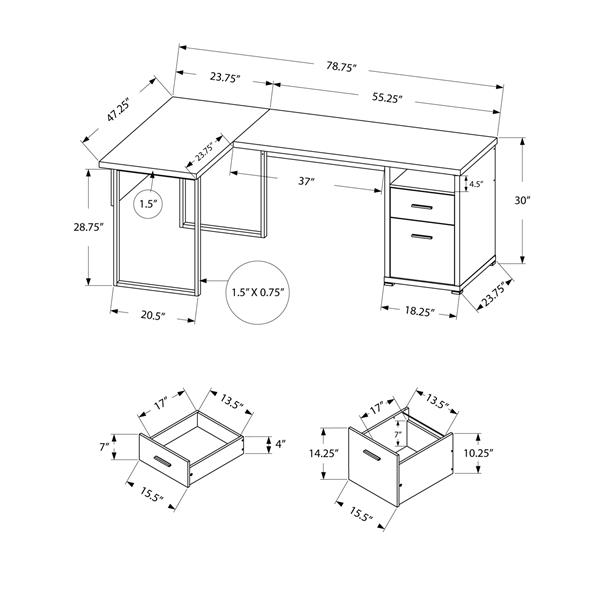 Monarch Computer Desk - Black and Grey - Left/Right Facing - 80-in L