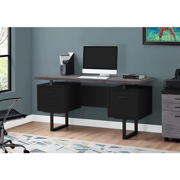 Monarch Computer Desk - Black / Grey Top / Black Metal - 60-in L