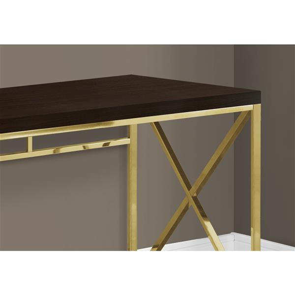 Monarch Computer Desk - Cappuccino ad Gold Metal - 48-in L