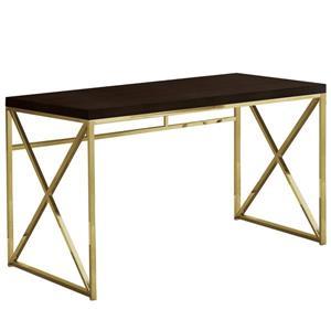 Monarch Computer Desk - Cappuccino ad Gold Metal - 48-in L