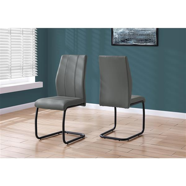 Monarch Dining Chairs Grey Leather Look and Metal - 39-in H - 2pcs