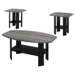 Ensemble de tables de salon avec angles, noir/gris, 3 mcx