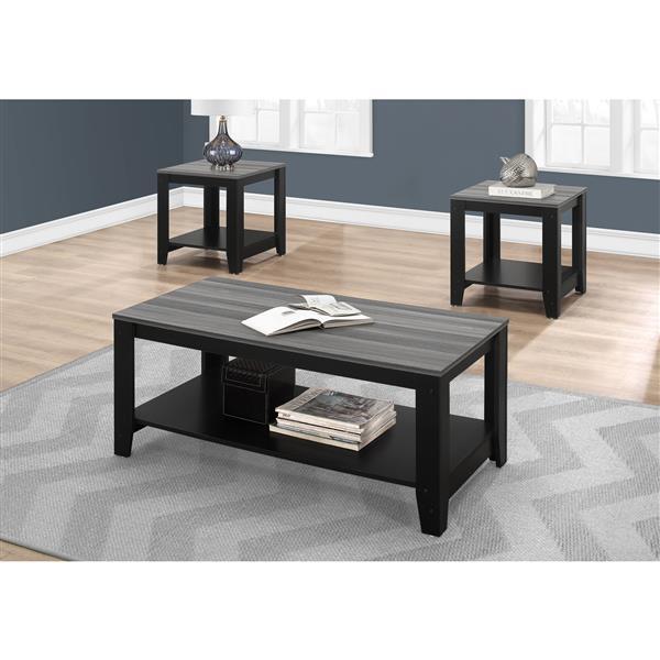 Ensemble de tables de salon, noir et dessus gris, 3 mcx