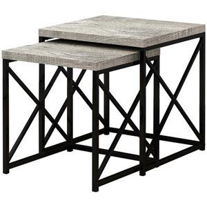 Tables gigognes, faux bois gris/métal noir, ensemble de 2