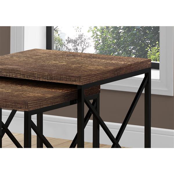 Monarch Nesting Table Brown Reclaimed Wood/Black - 2 Pcs Set