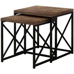 Tables gigognes, faux bois brun/métal noir, ensemble de 2