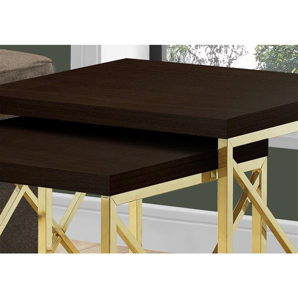 Monarch Nesting Table Cappuccino and Gold Metal - 2 Pcs Set