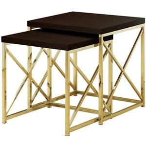 Tables gigognes, cappuccino et métal dorée, ensemble de 2