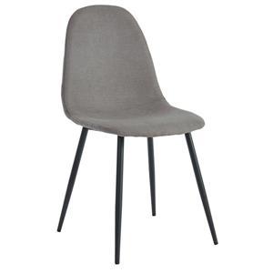 Chaises salle à manger tissu gris et métal, ensemble de 4