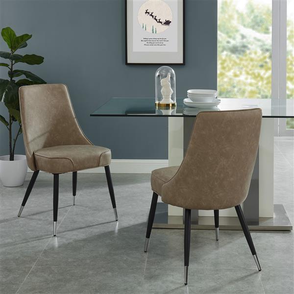 Chaise de salle à manger vintage !nspire, simili-cuir taupe, 35 po, ens. de 2