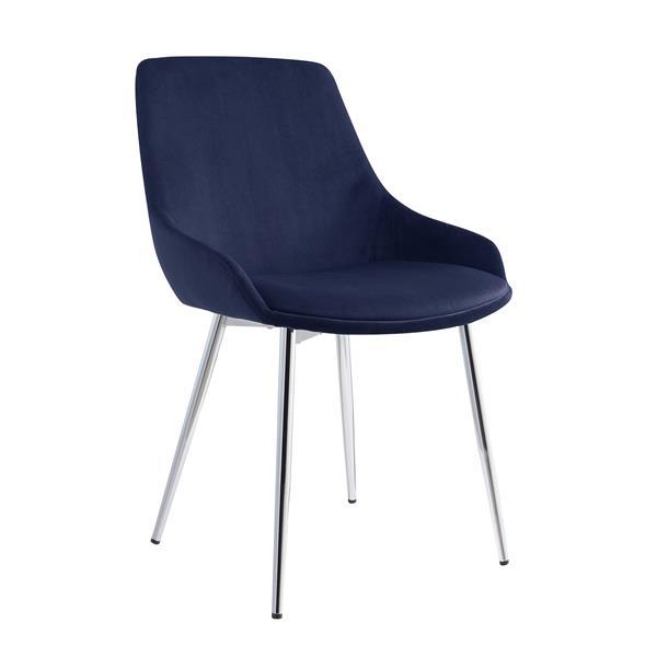 Chaise de salle à manger !nspire, velours bleu et chrome, 32,75 po, ens. de 2